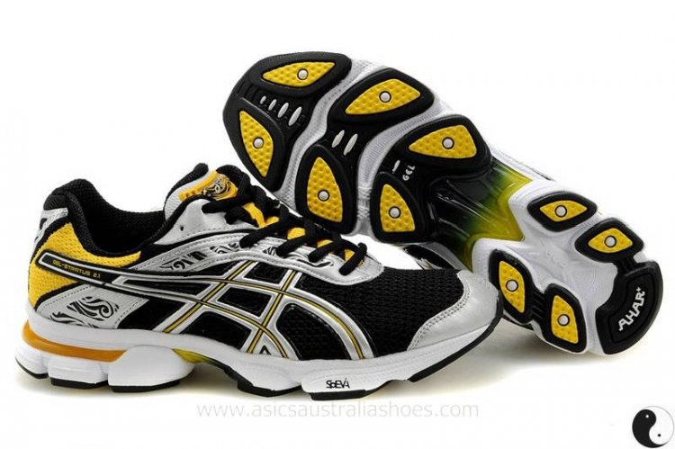 Asics Gel Stratus 2.1 mens Black Yellow Silver Shoes