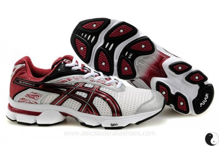 Asics Gel Stratus 2.1 mens White Red Shoes