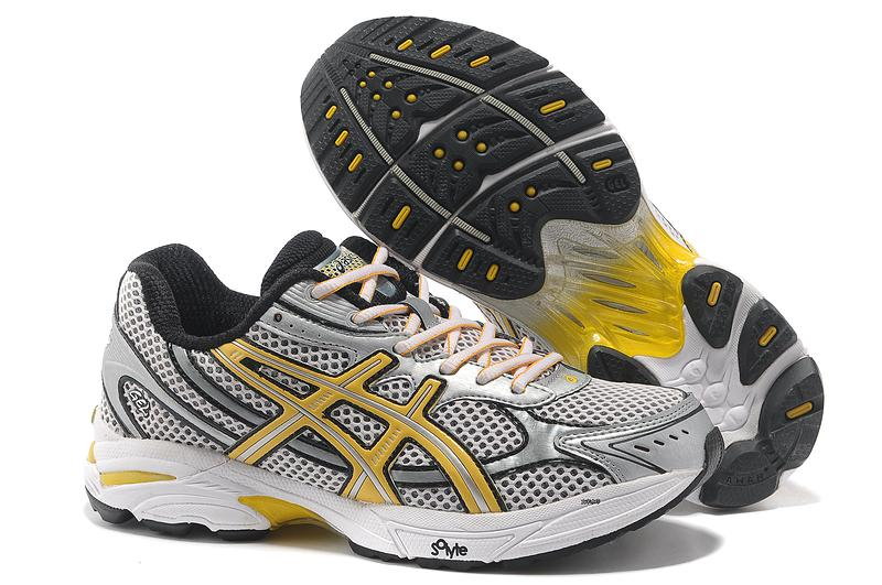 Asics Gel Cushioning T004N Running Shoes 2013 New Style Mens Shoes Sliver White-Grey-Yellow