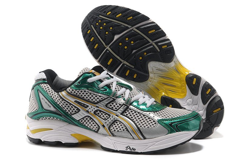 Asics Gel Cushioning TN805 Running Shoes 2013 New Style Mens Shoes Green Grey-sliver Grey