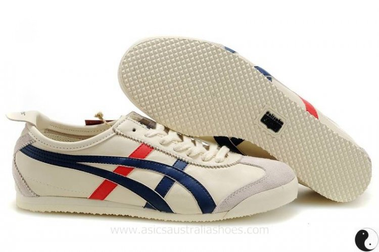 Onitsuka Tiger Mexico 66 Beige Blue Red Shoes