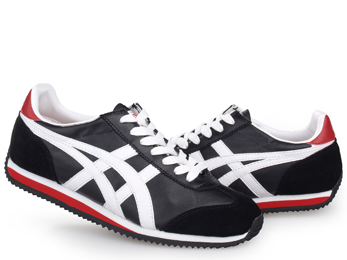 Asics California 78 Leather Shoes Black White Red
