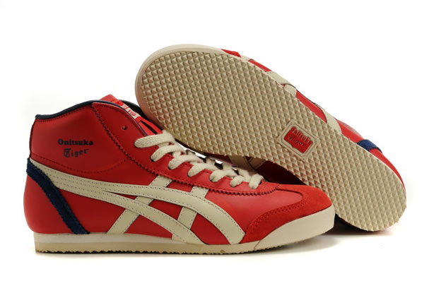 Asics Mexico 66 Mid Runner Shoes Black Red Beige