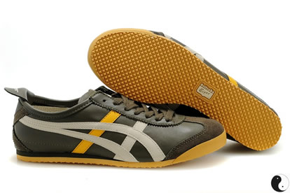Asics Mexico 66 Shoes Black Grey Yellow For Mens
