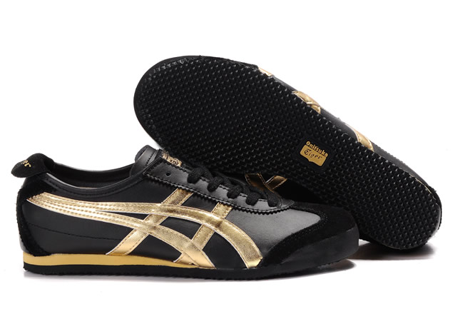 Mens Asics Mexico 66 Shoes Yellow Black Golden