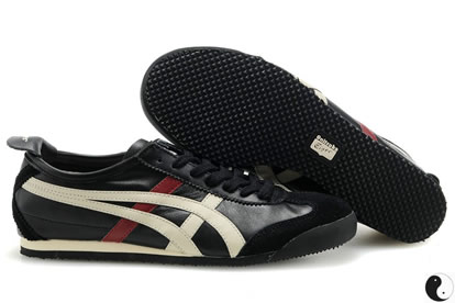 Onitsuka Tiger Mexico 66 Shoes Black White Dark Red